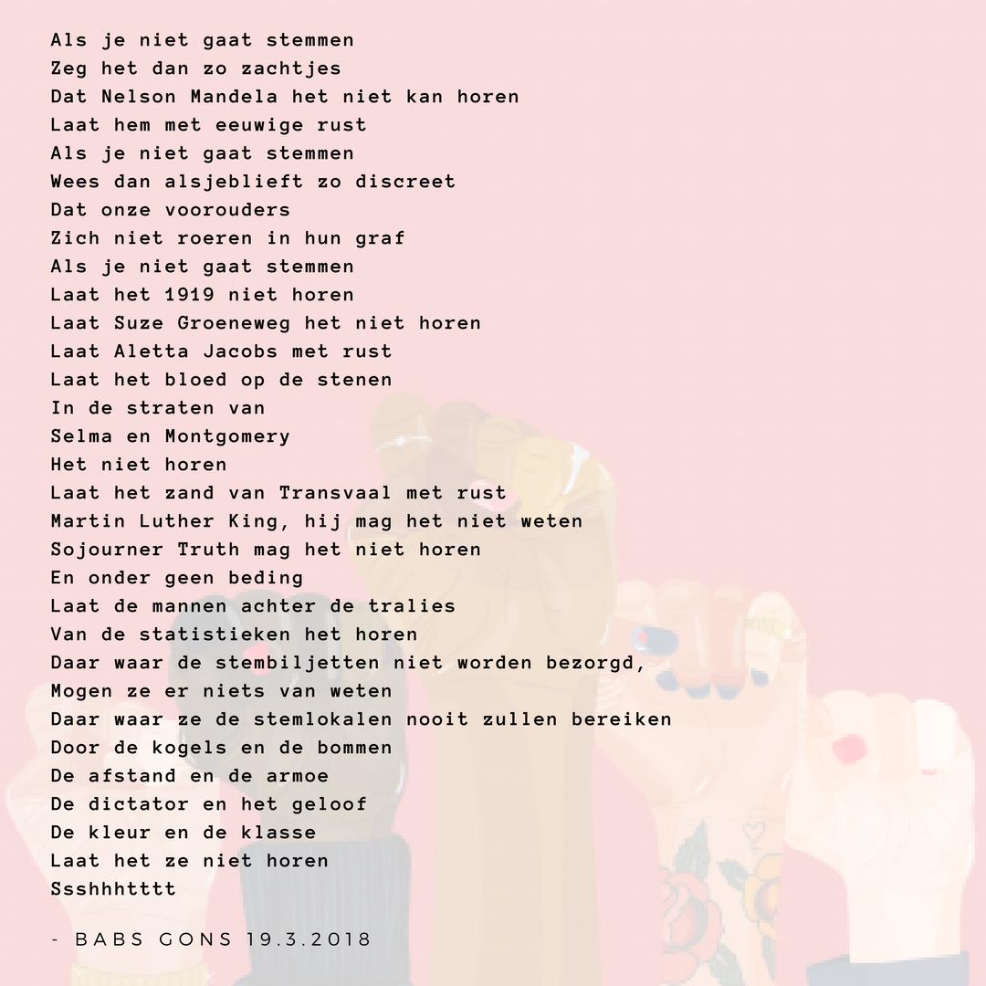 Gedicht Als Je Niet Gaat Stemmen Babs Gons